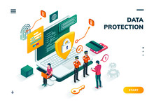 Isometric Banner With Notebook And Policeman, Shield In Front Of Man Entering Password On Smartphone. Cyber Security, Protection And Privacy, Internet Safety And Credit Card Steal, Carder Theme