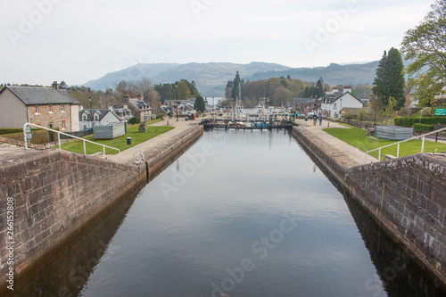 Poster Channel Caledonian Canal in Fort Augustus at Loch Ness Highlands Scotland Great Britain
