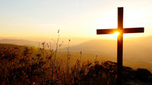 Holy Cross Standing In Mountain Landscape Scenery At Sunset Light