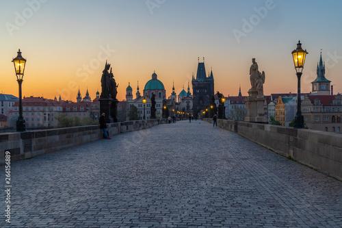 Poster Prague Charles bridge at Sunrise, Prague, Czech Republic