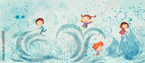 Naklejki do przedszkola water-watercolor-concept-education-background