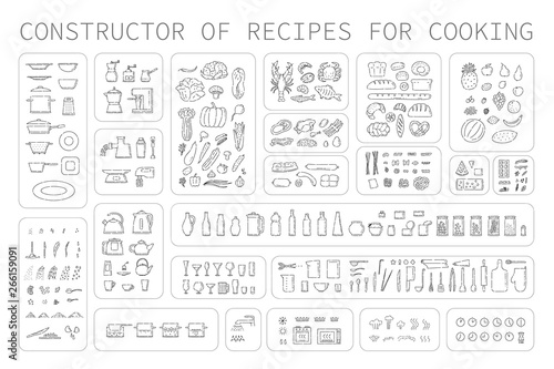 Fotografia, Obraz Cooking instruction icons of different food utensils and appliances for kitchen