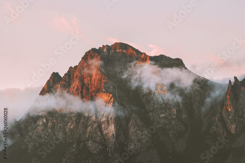 Poster Deep brown Rocky mountains range and clouds sunset landscape Travel view wilderness nature tranquil scenery