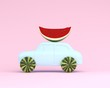 Leinwanddruck Bild - watermelon wheel and car blue on pastel pink background. minimal idea food and fruit concept. Idea creative to produce work within an advertising marketing communications. Business concept