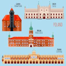 Sights Of Poland. Krakow, Cloth Hall, Lublin, Castle, Gdansk, Crane, Warsaw, Royal Castle.