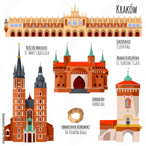Sights of Krakow, Poland. Cloth Hall, St. Florian's Gate, St. Mary's Basilica, Barbican.