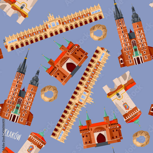 Fototapeta Sights of Krakow, Poland. Cloth Hall, St. Florian's Gate, St. Mary's Basilica, Barbican. Seamless background pattern. obraz