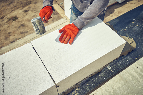 Construction of a house of aerated concrete kirtich Wallpaper Mural