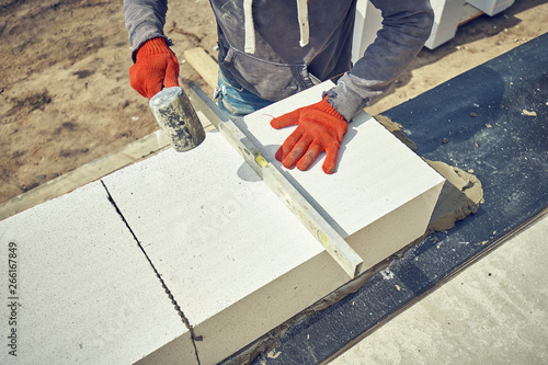 Construction of a house of aerated concrete kirtich Canvas Print