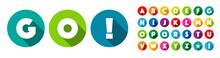 Go !   Alphabet / Lettres Dans Cercles Multicolores