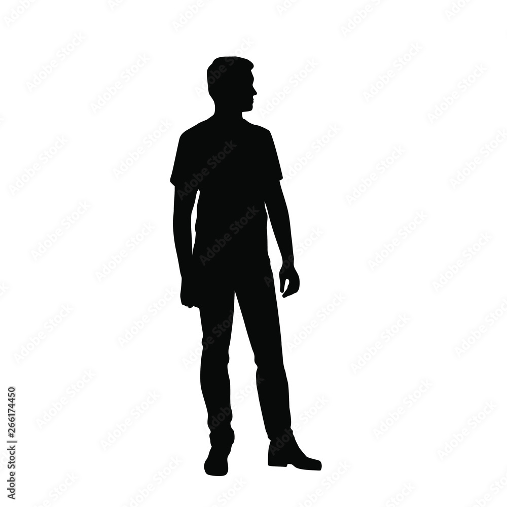 Fototapeta Vector silhouette of one man standing, business people, black color isolated on white background