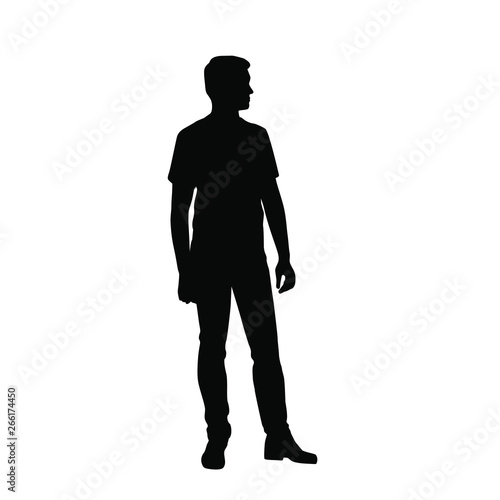 Obraz Vector silhouette of one man standing, business people, black color isolated on white background - fototapety do salonu