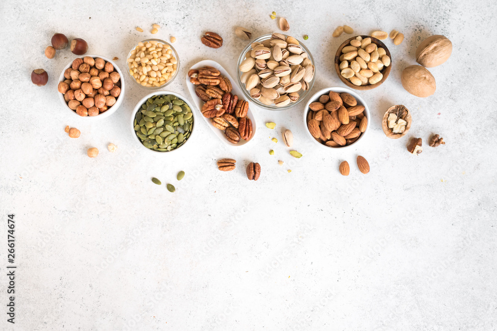 Fototapety, obrazy: Various Nuts in  bowls