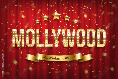 Photo Mollywood indian cinema vector banner with text