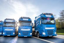 Blue Trucks Speeding In Line C...