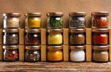 Large Collection Of Spices In Small Jars