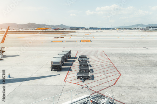 View of machinery on the boarding area of a contemporary airport terminal El Pra Canvas Print
