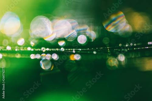 Fotografía green natural background with bokeh spring or summer morning with the dew on the