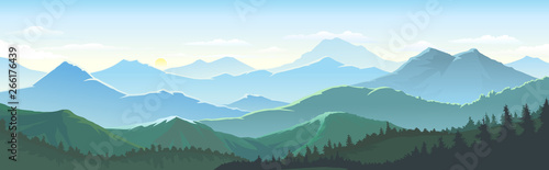 Poster Piscine Large number of mountains, vast landscapes touching the horizons, skies and dense lush forest