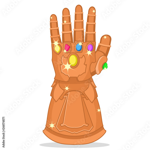 Glove Thanos with the stones of strength, glitters on a white Canvas Print