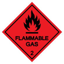 Flammable Gas Symbol Sign ,Vec...
