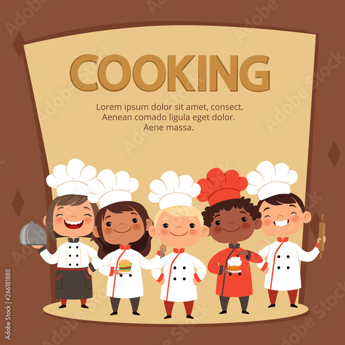 Kids Characters Prepare Food Cooking Kids Chefs Banner Vector Template Chef Restaurant Children Culinary Kids Illustration Buy This Stock Vector And Explore Similar Vectors At Adobe Stock Adobe Stock