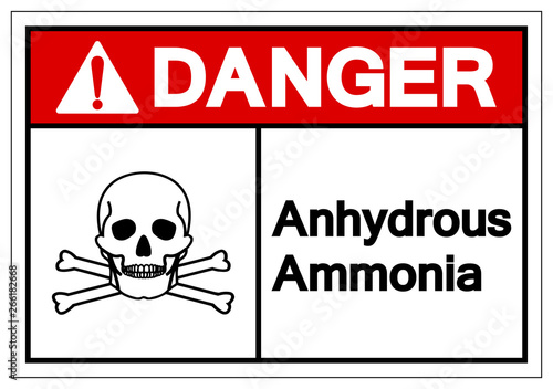 Photo Danger Anhydrous Ammonia Symbol Sign, Vector Illustration, Isolate On White Background Label