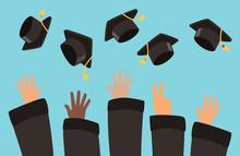 Students Throw Graduation Caps...