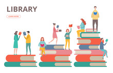 Time To Read Vector Concept. Library, Self Education, Students With Books Illustration. Student Read Book, People On Stack Of Books