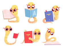 Bookworms Cartoon. Back To School Character Reading Books Library Worm Happy Smart Baby Animal Vector Illustrations. Bookworm Education, Earthworm With Book