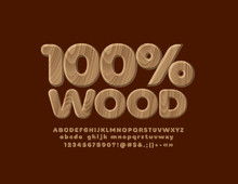 Vector 100% Wood Texture Alphabet Letters, Numbers And Symbols. Realistic Pattern Font