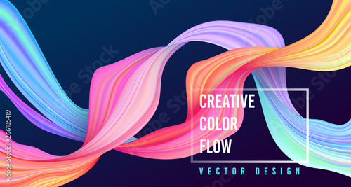 Obraz Modern colorful flow poster. Wave Liquid shape on dark blue color background. - fototapety do salonu