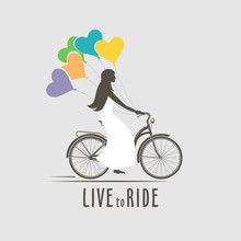 Vector Illustration Retro Bicycle Romantic Emblem Isolated On White Background For Design And Advertising