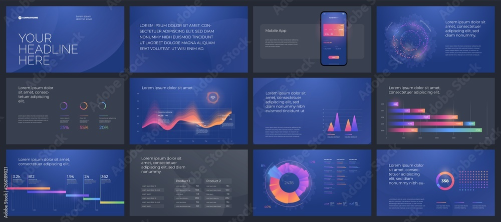 Fototapety, obrazy: Colorful presentation templates elements. Vector infographics. Use in Presentation, flyer and leaflet, corporate report, marketing, advertising, annual report and banner.