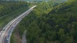 Aerial of flying across an Autobahn section with traffic jam in Karlsruhe, Germany