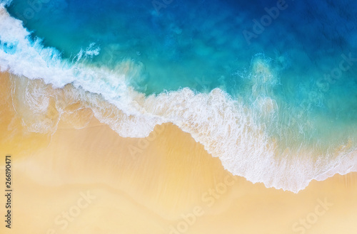 Printed kitchen splashbacks Amsterdam Coast as a background from top view. Turquoise water background from top view. Summer seascape from air. Nusa Penida island, Indonesia. Travel - image