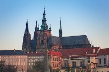 Architecture of the Prague castle at sunrise, Czech Republic