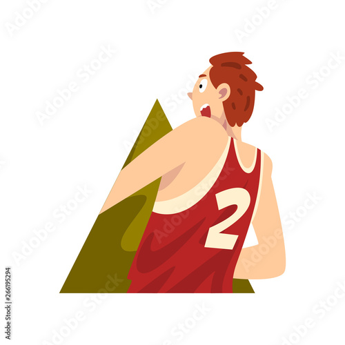 Young Man Climbing Out of Triangular Shape Cartoon Vector Illustration Fototapet