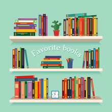 Three Bookshelves With Favorite Books, Watches, Flowers And Pencils. Concept Of Library. Vector Illustration Isolated