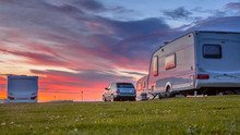 Camping Caravans And Cars  Sun...