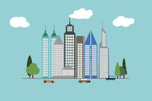Skyscrapers In The Big City Style Icons  On  Vector Illustration On Background