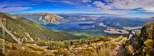On the way up to the most beautiful view of Nelson lakes national park in New Ze Wallpaper Mural