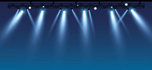 Vector Stage With Set Of Blue Spotlights. Blue Stage Lights. Esp 10