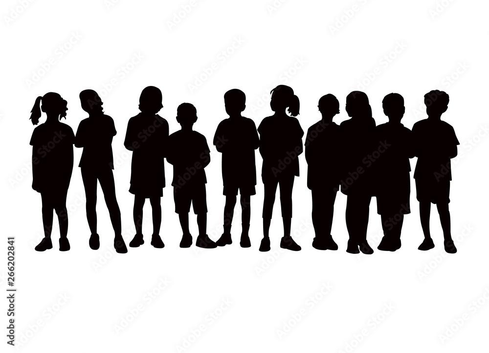 Fototapeta children waiting in line, silhouette vector