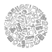 Round Design Element Combined From Outline Icons. Toys And Children Clothes.
