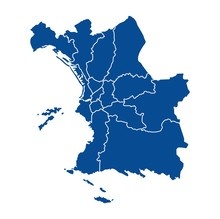 Outline Map Of Marseille Distr...