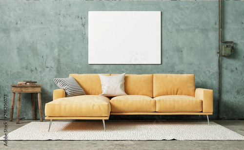Mock up poster in vintage living room, 3d render, 3d illustration