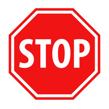 Red Stop Sign Icon Vector Illu...