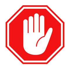 Red stop sign with big hand symbol icon vector illustration