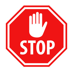 Red stop sign with white hand symbol icon vector illustration